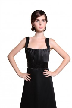 A-Line Straps Sleeveless Long Black Satin Bridesmaid Dresses/Wedding Party Dresses BD010187