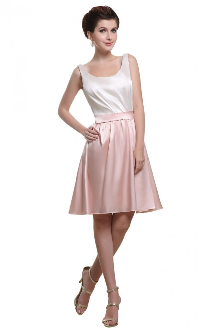 A-Line Short White Pink Bridesmaid Dresses/Wedding Party Dresses BD010192