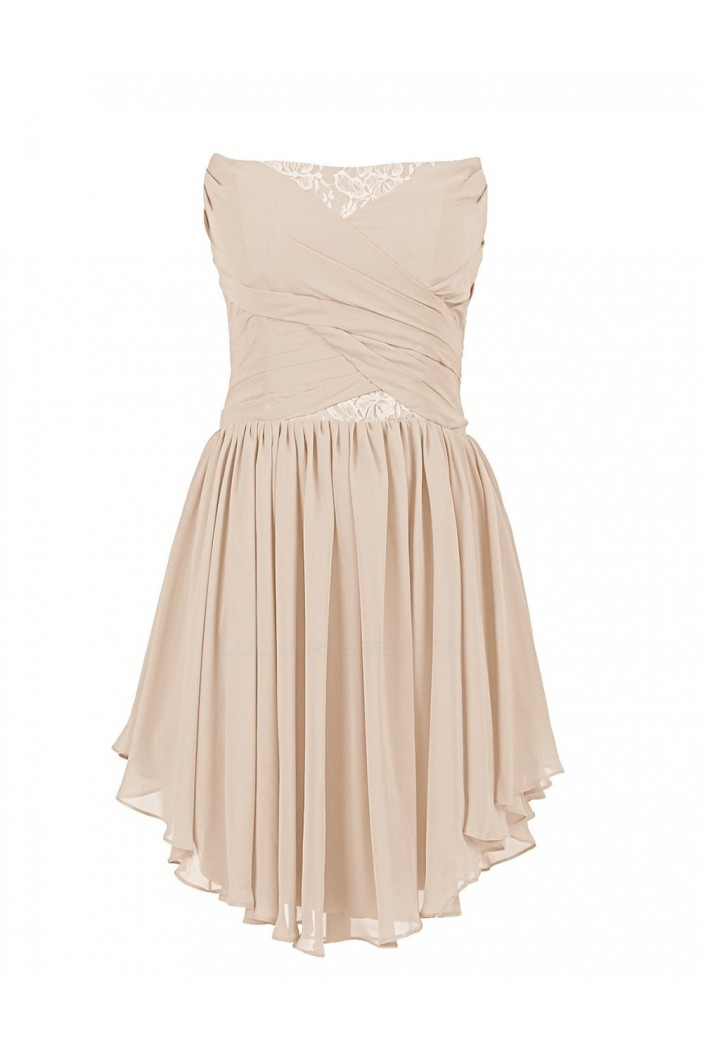A-Line Strapless Short/Mini Chiffon and Lace Bridesmaid Dresses/Wedding Party Dresses BD010194