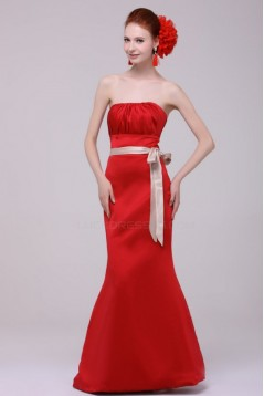 Trumpet/Mermaid Strapless Red Floor-Length Bridesmaid Dresses/Wedding Party Dresses BD010203