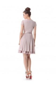 A-Line Short Sleeve Chiffon Bridesmaid Dresses/Wedding Party Dresses BD010207