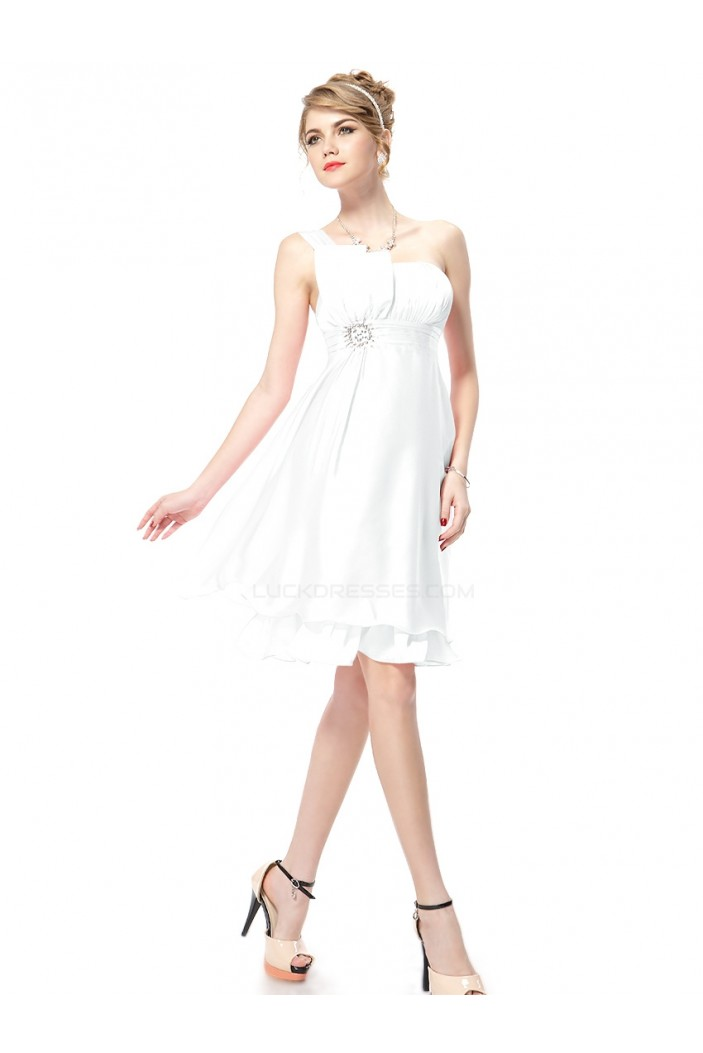 A-Line One-Shoulder Short White Bridesmaid Dresses/Wedding Party Dresses BD010211