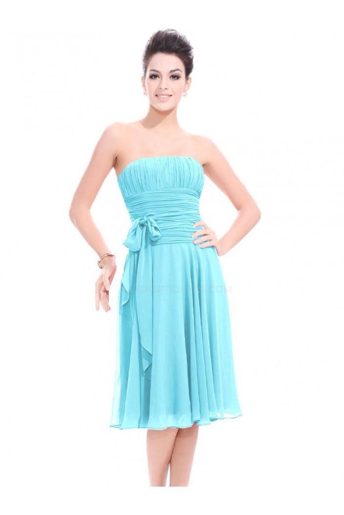 A-Line Strapless Blue Knee-Length Chiffon Bridesmaid Dresses/Wedding Party Dresses BD010216