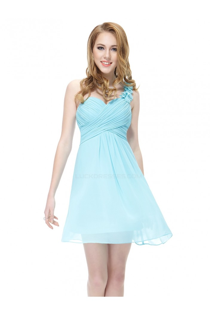 A-Line One-Shoulder Short Blue Chiffon Bridesmaid Dresses/Wedding Party Dresses BD010218