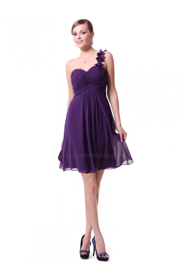 A-Line One-Shoulder Short Purple Chiffon Bridesmaid Dresses/Wedding Party Dresses BD010220