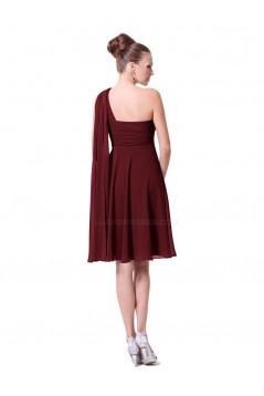 A-Line Empire One-Shoulder Short Chiffon Bridesmaid Dresses/Wedding Party Dresses BD010223