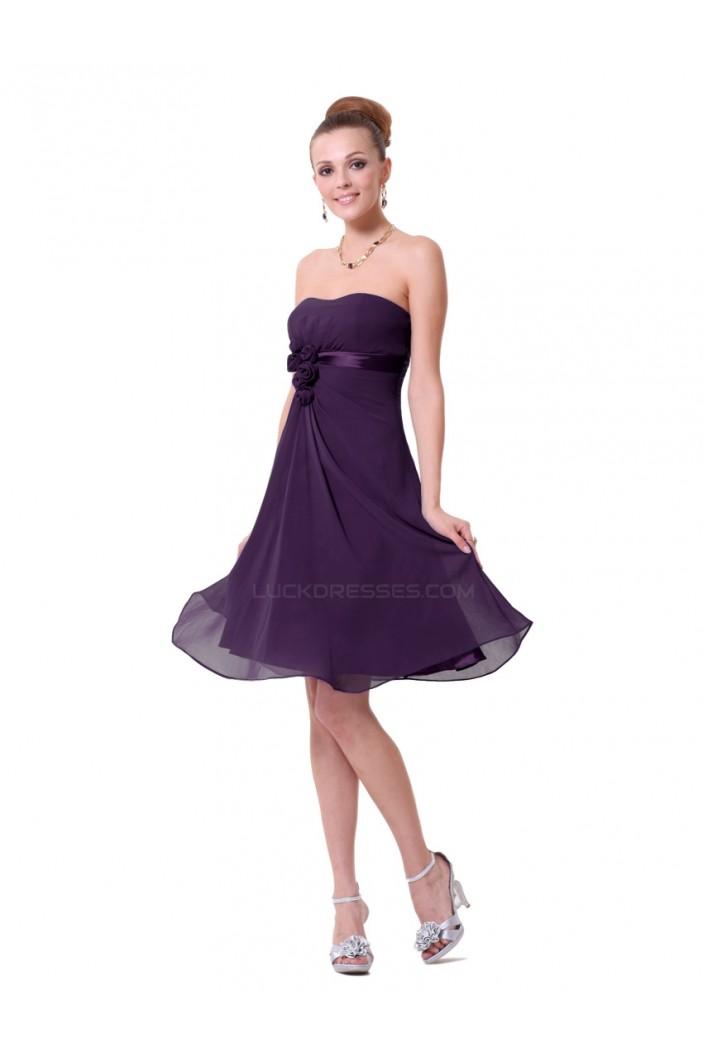 A-Line Strapless Grape Chiffon Short Bridesmaid Dresses/Wedding Party Dresses BD010224