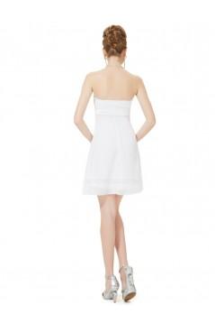 A-Line Strapless White Chiffon Short Bridesmaid Dresses/Wedding Party Dresses BD010226