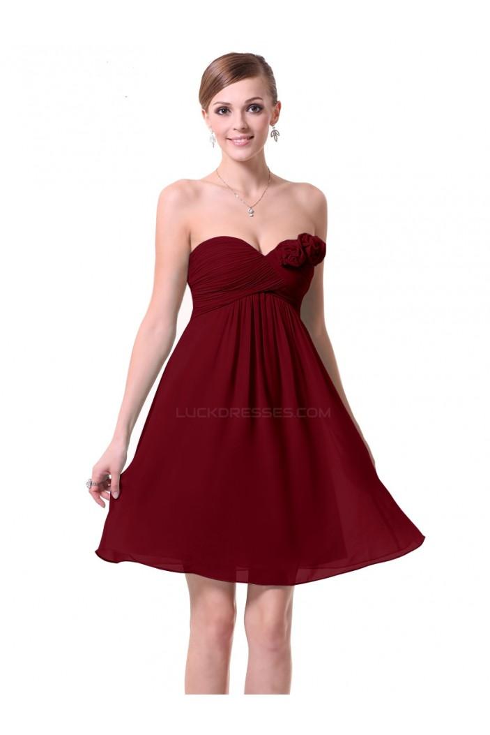 A-Line Empire Sweetheart Burgundy Chiffon Short Bridesmaid Dresses/Wedding Party Dresses/Maternity Dresses BD010228