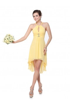 High Low Beaded Yellow Chiffon Bridesmaid Dresses/Wedding Party Dresses BD010230