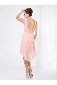 High Low V-Neck Pink Chiffon Bridesmaid Dresses/Wedding Party Dresses BD010231