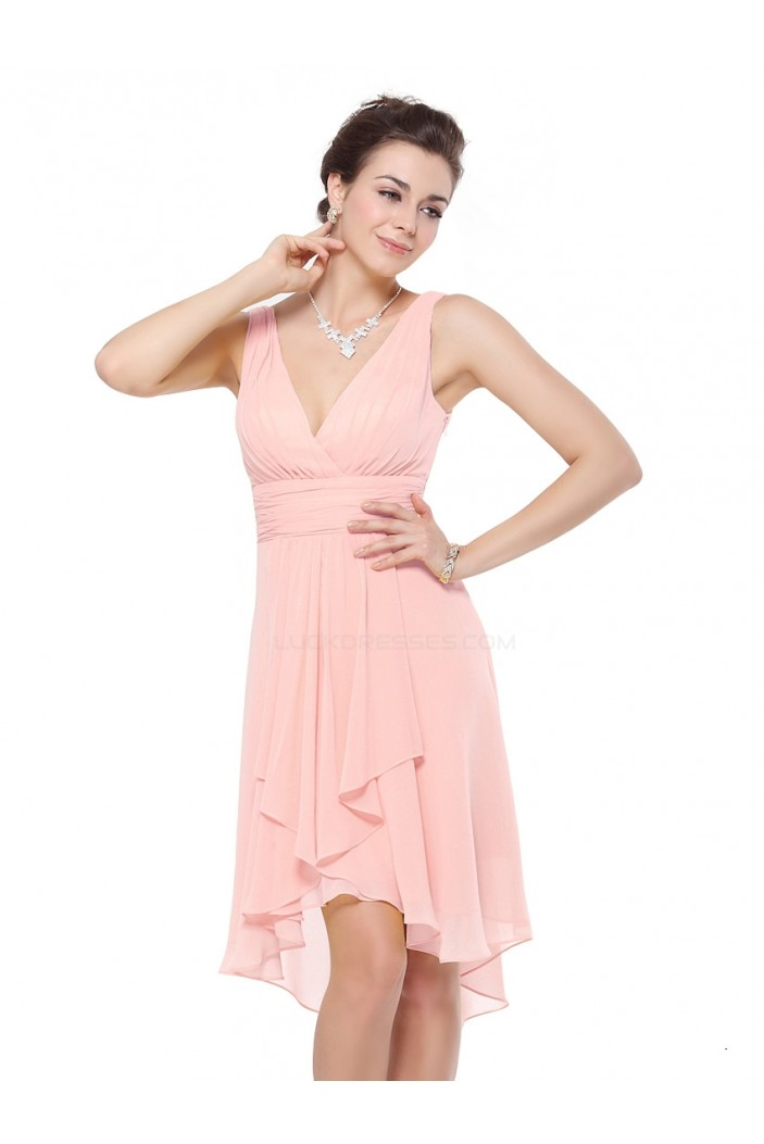High Low V-Neck Pink Chiffon Bridesmaid Dresses/Wedding Party Dresses BD010231