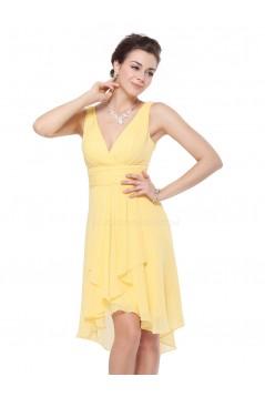 High Low V-Neck Yellow Chiffon Bridesmaid Dresses/Wedding Party Dresses BD010232