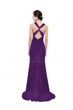 Trumpet/Mermaid V-Neck Purple Floor-Length Bridesmaid Dresses/Wedding Party Dresses BD010234