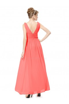 A-Line V-Neck Long Chiffon Bridesmaid Dresses/Wedding Party Dresses BD010239