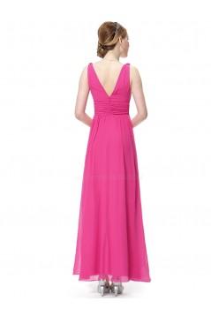 A-Line V-Neck Hot Pink Long Chiffon Bridesmaid Dresses/Wedding Party Dresses BD010241