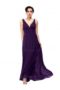 A-Line V-Neck Long Purple Chiffon Bridesmaid Dresses/Wedding Party Dresses BD010242