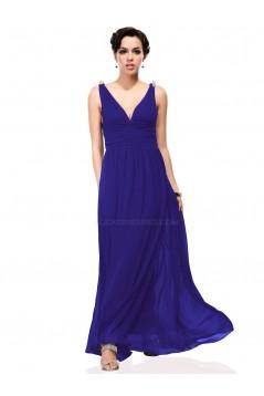 A-Line V-Neck Long Royal Blue Chiffon Bridesmaid Dresses/Wedding Party Dresses BD010244