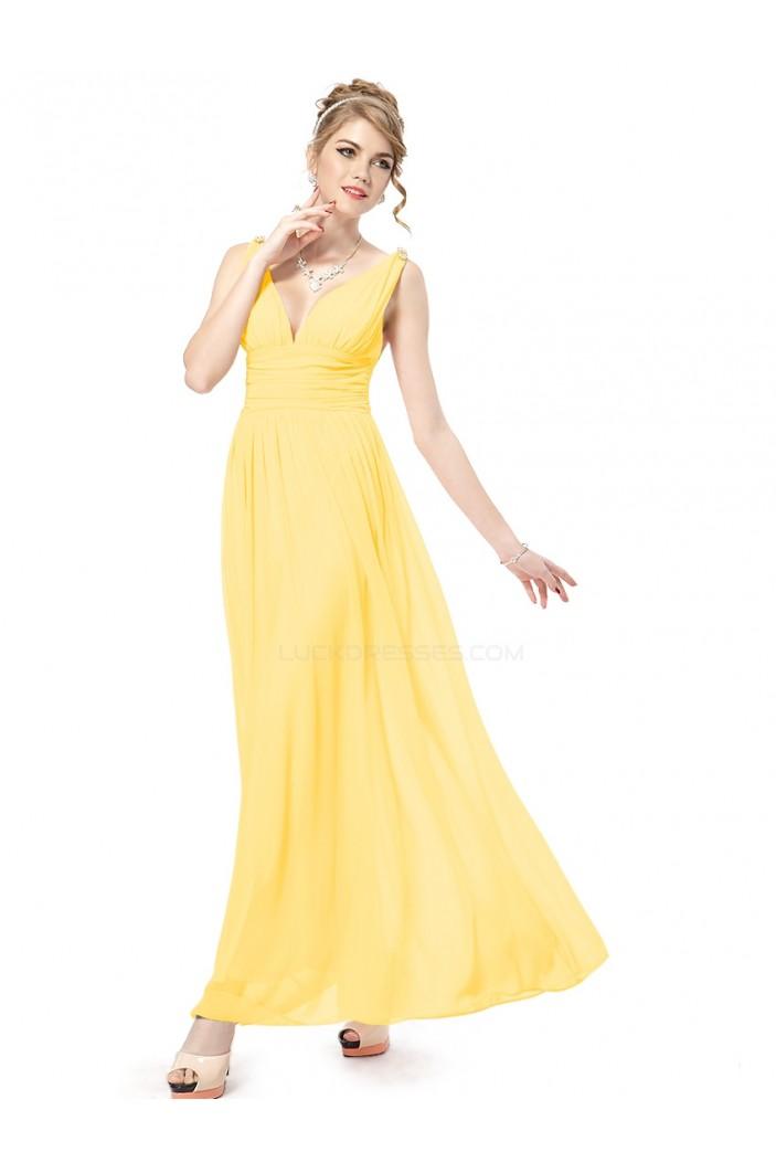 A-Line V-Neck Long Yellow Chiffon Bridesmaid Dresses/Wedding Party Dresses BD010246
