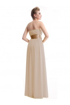 A-Line Empire Strapless Floor-Length Chiffon Bridesmaid Dresses/Wedding Party Dresses/Maternity Dresses BD010248