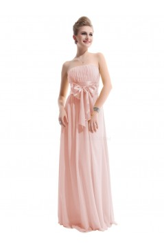 A-Line Empire Strapless Long Pink Chiffon Bridesmaid Dresses/Wedding Party Dresses/Maternity Dresses BD010251
