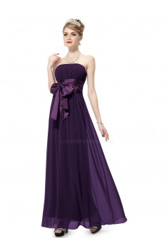 A-Line Empire Strapless Long Purple Chiffon Bridesmaid Dresses/Wedding Party Dresses/Maternity Dresses BD010252