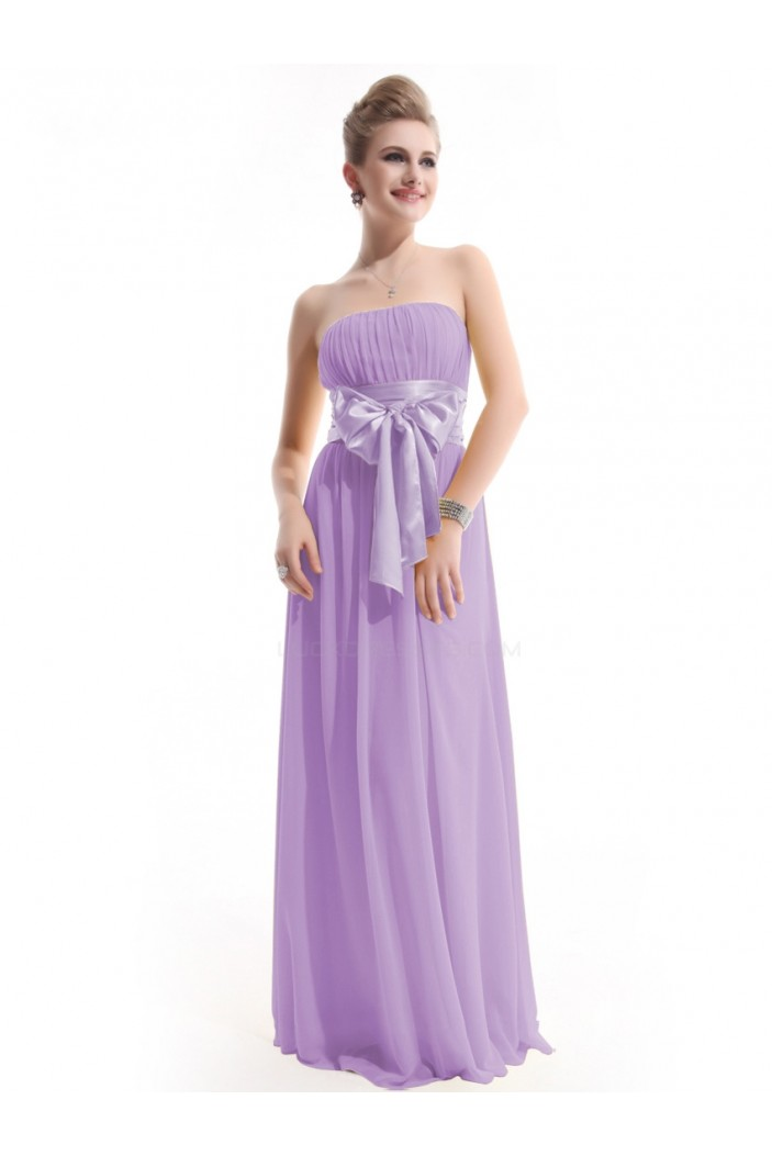 A-Line Empire Strapless Long Lilac Chiffon Bridesmaid Dresses/Wedding Party Dresses/Maternity Dresses BD010253
