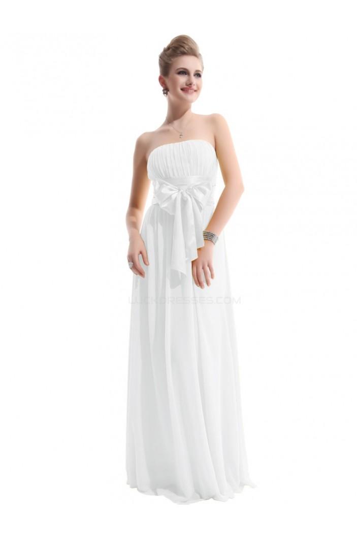 A-Line Empire Strapless Long White Chiffon Bridesmaid Dresses/Wedding Party Dresses/Maternity Dresses BD010255