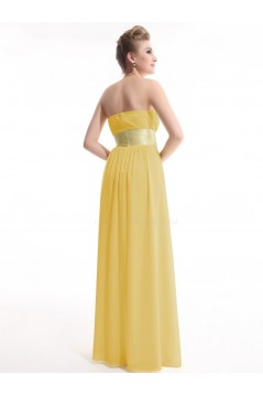 A-Line Empire Strapless Long Yellow Chiffon Bridesmaid Dresses/Wedding Party Dresses/Maternity Dresses BD010256
