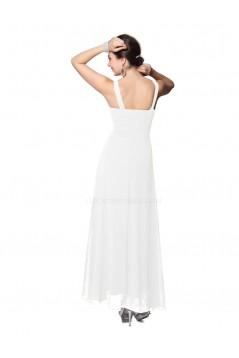 Empire Long White Beaded Chiffon Bridesmaid Dresses/Wedding Party Dresses/Maternity Evening Dresses BD010260