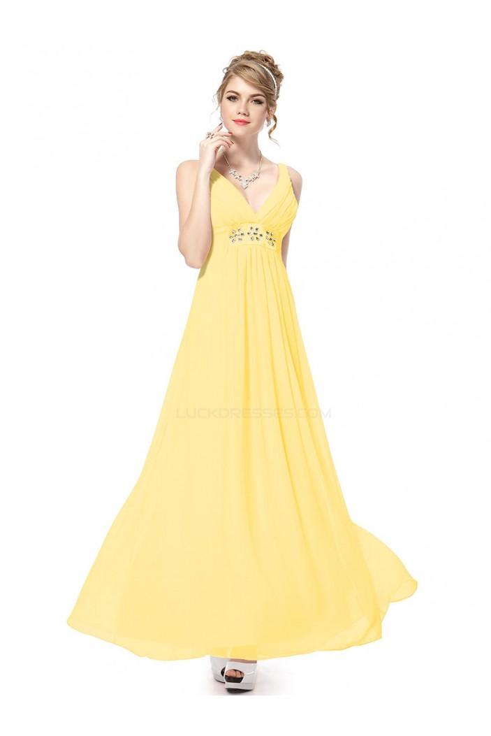Empire Long Yellow Beaded Chiffon Bridesmaid Dresses/Maternity Evening Dresses BD010261