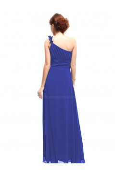 A-Line One-Shoulder Long Royal Blue Chiffon Bridesmaid Dresses/Evening Dresses BD010264