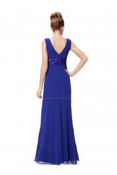 Sheath V-Neck Long Royal Blue Chiffon Bridesmaid Dresses/Evening Dresses BD010265