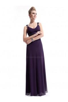 Sheath V-Neck Long Grape Chiffon Bridesmaid Dresses/Evening Dresses BD010266