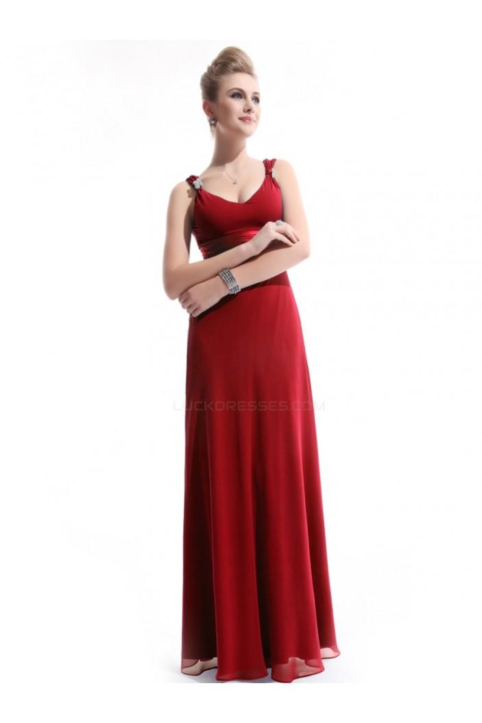 Sheath V-Neck Long Red Chiffon Bridesmaid Dresses/Evening Dresses BD010267