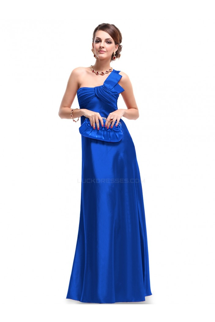 Empire One-Shoulder Royal Blue Long Chiffon Bridesmaid Dresses/Evening Dresses BD010268