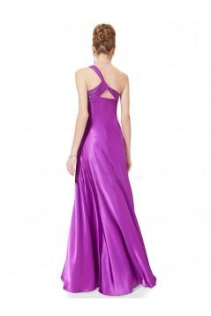 Empire One-Shoulder Purple Long Chiffon Bridesmaid Dresses/Evening Dresses BD010269