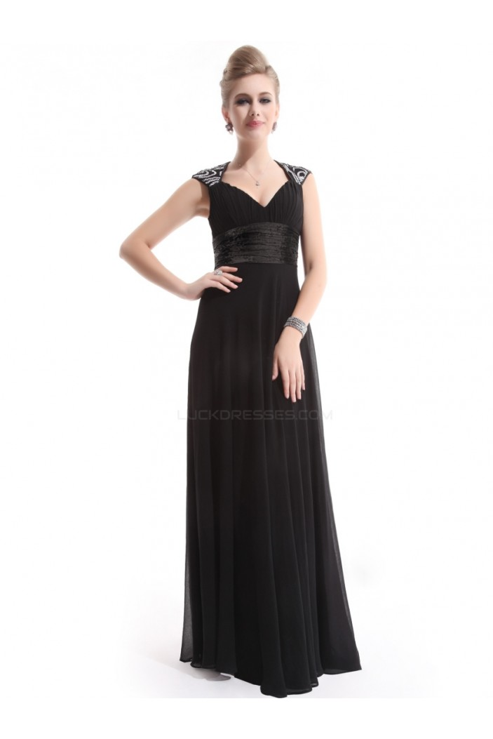A-Line Long Black Chiffon Bridesmaid Dresses/Evening Dresses BD010271