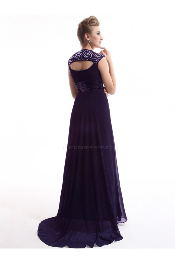 A-Line Long Purple Chiffon Bridesmaid Dresses/Evening Dresses BD010274