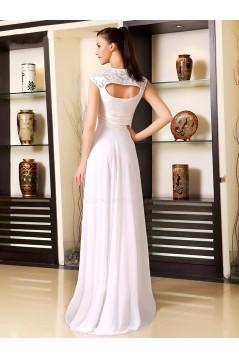 A-Line Long White Chiffon Bridesmaid Dresses/Evening Dresses BD010275