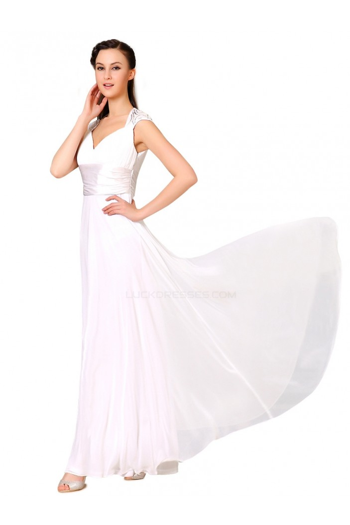A-Line Long White Chiffon Bridesmaid Dresses/Evening Dresses BD010275