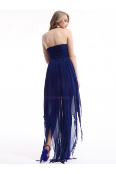 High Low Strapless Royal Blue Chiffon Bridesmaid Dresses/Evening Dresses BD010276