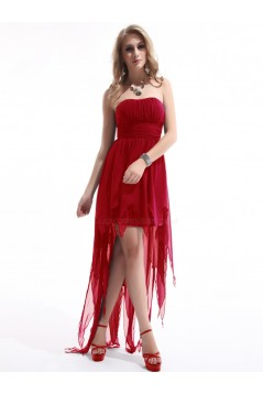 High Low Strapless Red Chiffon Bridesmaid Dresses/Evening Dresses BD010277