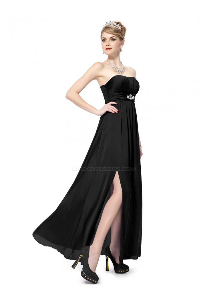 A-Line Strapless Long Black Chiffon Bridesmaid Dresses/Evening Dresses BD010278