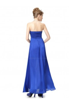 A-Line Strapless Long Royal Blue Chiffon Bridesmaid Dresses/Evening Dresses BD010279