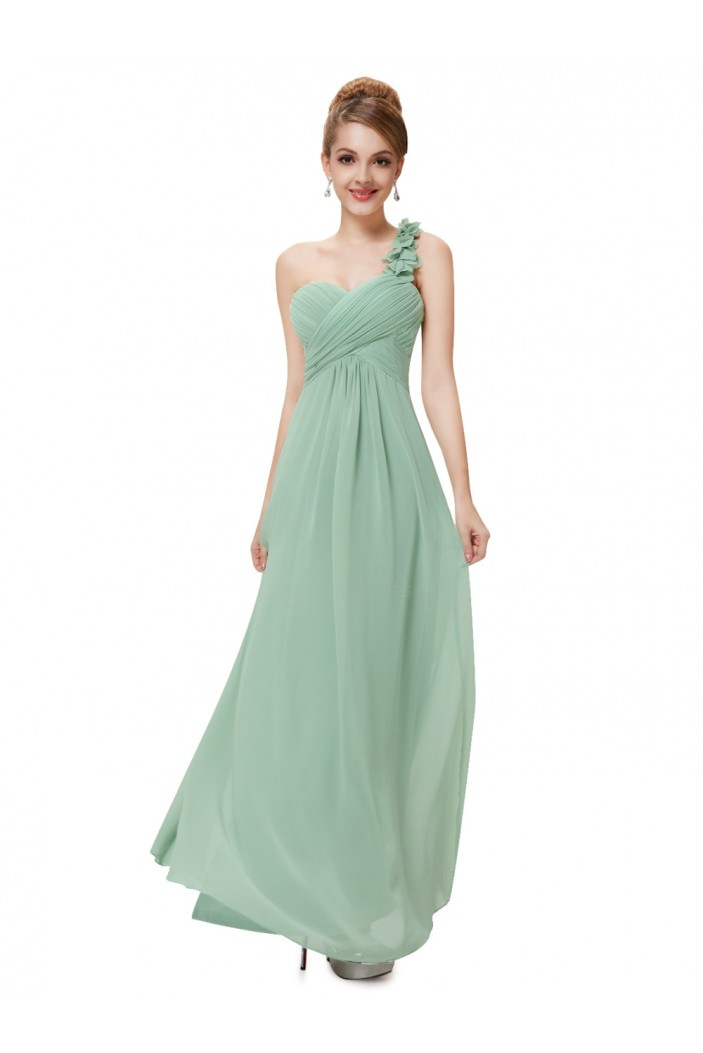 A-Line One-Shoulder Sweetheart Long Green Chiffon Bridesmaid Dresses/Evening Dresses BD010284