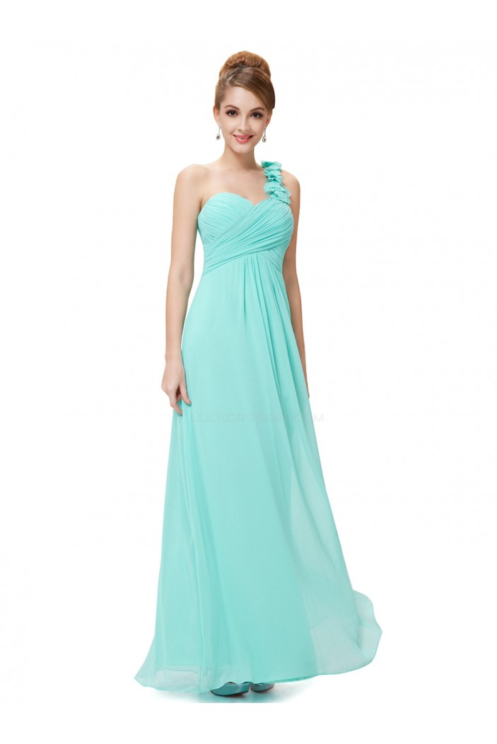 A-Line One-Shoulder Sweetheart Long Blue Chiffon Bridesmaid Dresses/Evening Dresses BD010285