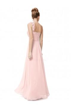A-Line One-Shoulder Sweetheart Long Pink Chiffon Bridesmaid Dresses/Evening Dresses BD010286