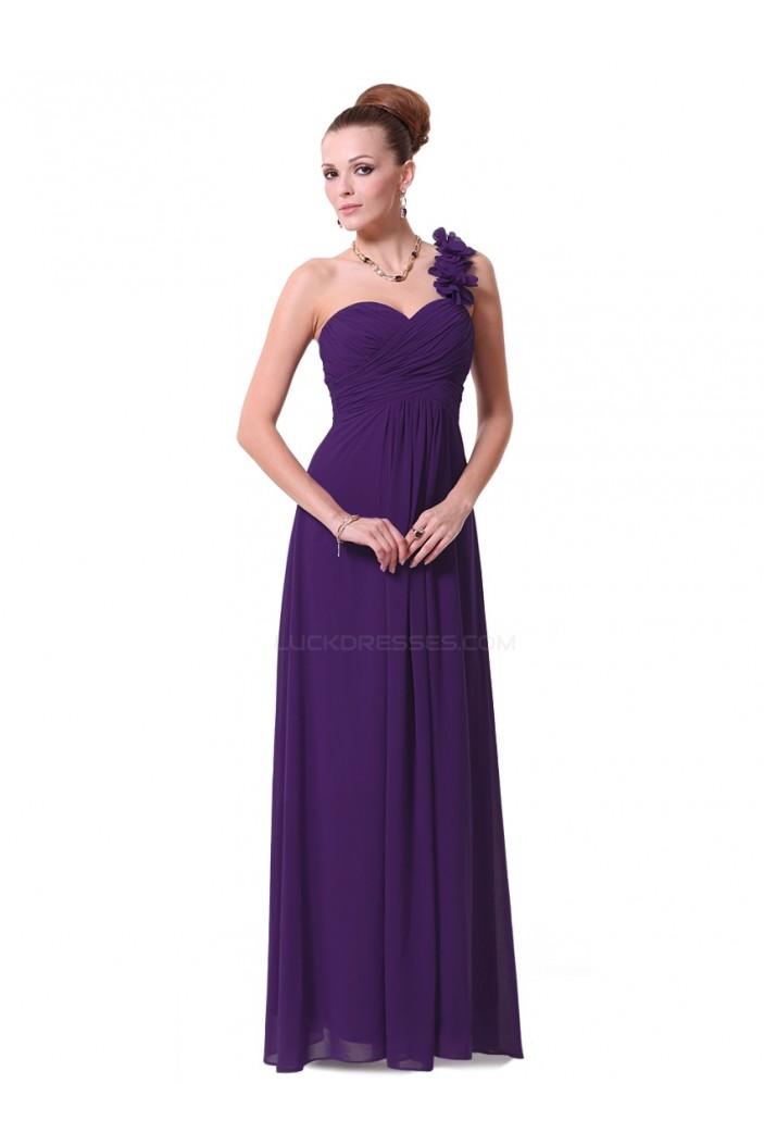 A-Line One-Shoulder Sweetheart Long Purple Chiffon Bridesmaid Dresses/Evening Dresses BD010287