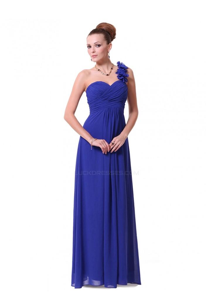 A-Line One-Shoulder Sweetheart Long Royal Blue Chiffon Bridesmaid Dresses/Evening Dresses BD010289